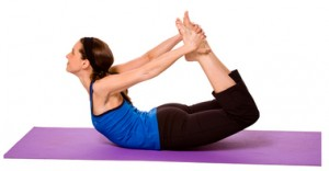 Pose #1:  Bow pose or dhanurasana